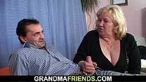 Very old busty granma swallows two cocks