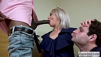 Elle McRae and her sissy cuckold sharing a black cock image
