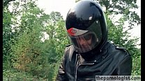 Skinny beauty fucked on running motorcycle in r... thumb