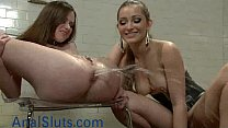Babe gets enema and squirts in femdom thumb