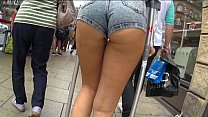 Awesome Ass in tight Jean Shorts