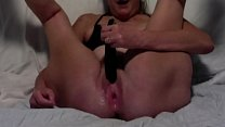Horny Wife Masturbates While Tied Up Legs Spread Wide