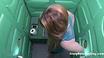 Cum Lover gets paid for sucking dick in a porta potty gloryhole. pornhub video
