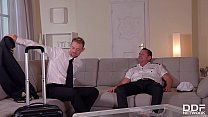 Stewardess Anissa Kate Double Penetrated By Two Pilots