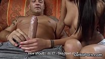 Lovely girl spreads narrow slit and gets deflorated