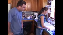 He hits on her stepdaughter while she's washing...