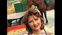 Horny busty redhead MILF sucks on hard