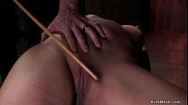 Busty in back arch bondage caned