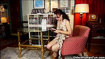 Big clitted milfs Raquel and Sable getting hot in pantyhose thumbnail