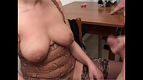 Old whore licks two cocks and gets cum on her tits