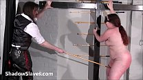 Bullwhipped bbw masochist Nimues spanking to tears and tied up caning in the dungeon