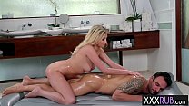 Blonde teen rides a new clients cock after she ... thumb