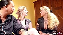 German Mature teach Teen Couple how to Fuck in FFM Threesome