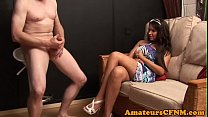 CFNM babe commands sub guy to strip naked thumbnail