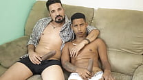 Young naughty boy sits on his stepfather's dick without a condom