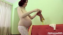 Pregnant Anastasia Plays with Her Nude Body!