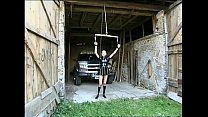 Tied up girl gets dirty outdoors