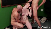 Slutty Centerfo ld Gets Cumshot On Her Face Sw  On Her Face Swallowing All The Juice