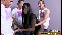 Hot ebony chick in interracial gangbang 24