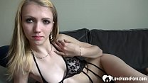 Skinny chick strips and pleasures herself on cam