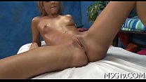 Sexy babe massages rod with lips