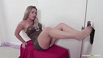 Brazilian blonde gives footjob in the gloryhole! Lilith Scarlett foot fetish! thumbnail