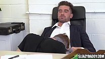 Son visits dad's office to suck his cock