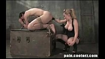 Blonde Dominatrix with gorgeous tits and her boy