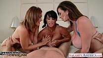 Cougars Charlee Chase, Holly Halston and Sara Jay fucking a lucky stud