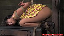 Tied up bdsm sub flogged by dominator