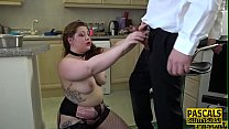 Dominated curvy babe gets mouth fucked