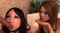 Two horny Japanese honies take control and share a hard cock and hot jizz缩略图