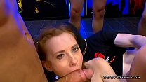 Cute redhead linda sweet loves blowbang with cums