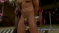 Bound guy in chastity ass cattle prodded thumbnail
