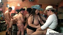 Group BBW orgy in the pub video