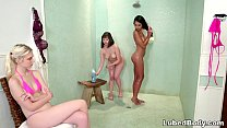 Shy teen joins to the lesbian action in the bat...