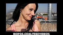 Horny Czech brunette is paid to show off her body on rooftop