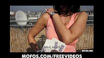 Horny Czech brunette is paid to show off her body on rooftop Preview