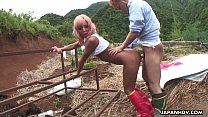 Asian farm slut gets to be fucked from the back...
