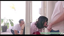 Sexy MILF Step Mom Amber Chase Stuck In Window Both Step Son's At Each End
