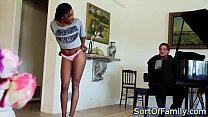 Ebony teen stepdaughter riding cock Image