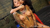 Inked sub Alby Rydes swallows pussy before strapon funtime