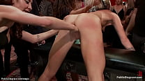 Blonde made squirt in public bdsm party
