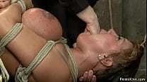 Huge boobs bound mature tormented