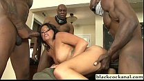 Skinny bitch interracial gangbang