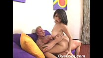 hot latin chica adrianna faust pumps up and down a hard cock