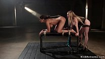 Busty lesbian ass hooked and whipped