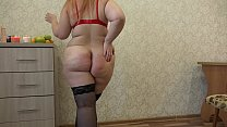 A fat girl in stockings trying on different panties and masturbating her ass and preview image