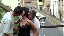 Young tiny teen girl with 2 hung guys