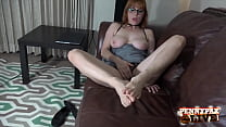 Foot Fucking Fap Time! Redhead With Glasses Pen...